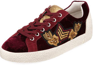 Ash Nak Army Embroidered Velvet Low-Top Sneakers