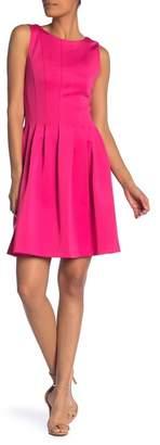 Modern American Designer Solid Scuba Fit & Flare Dress