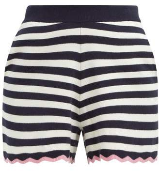Allude Scalloped Hem Striped Cotton Shorts - Womens - Navy Stripe