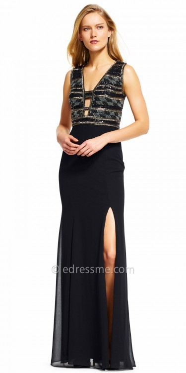 Adrianna PapellAdrianna Papell Beaded Multi Cut Out Evening Dress