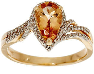 QVC Pear Shaped Imperial Topaz & Diamond Ring, 14KGold, 1.35 cts