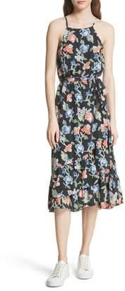 Joie Deme Floral High/Low Silk Dress