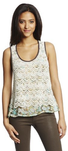 Miss Me Juniors Layered Lace Floral Tank with Flyaway Back