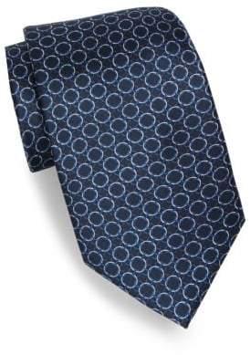 Brioni Repeating Circle Print Silk Tie