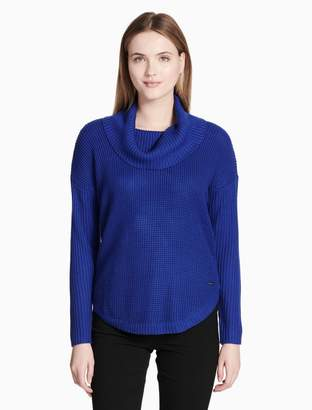 Calvin Klein textured cowl neck round hem pullover sweater