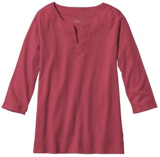 L.L. Bean L.L.Bean Women's Pima Cotton Tunic, Three-Quarter-Sleeve Splitneck