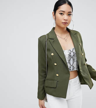 Missguided Petite gold button blazer in khaki