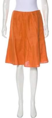Valentino Knee-Length Linen Skirt Orange Knee-Length Linen Skirt