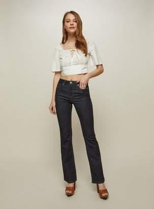 Miss Selfridge Lizzie high waist skinny dark blue flare jeans
