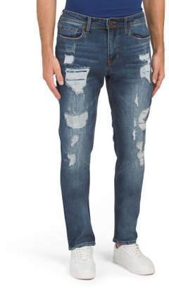 Slim Straight Bleach Wash Jeans