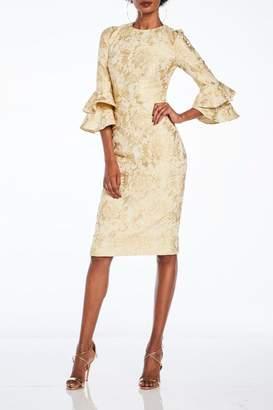 Theia Ruffled Sleeve Dress