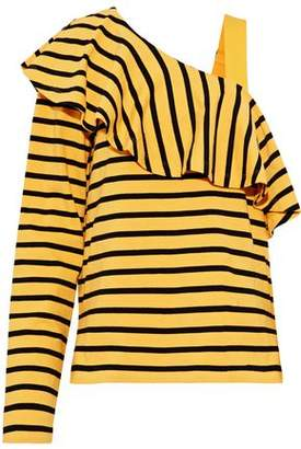 Goen.j Asymmetric Ruffled Striped Cotton-Jersey Top