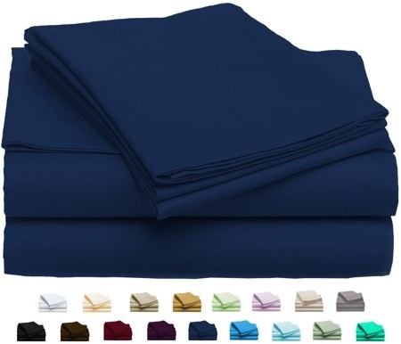 Luxury Home Super-Soft 1600 Series Double-Brushed 6 Pcs Bed Sheets Set (King, Navy)
