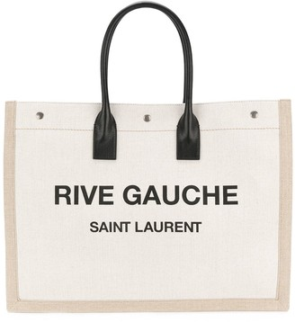 Saint Laurent white and black Rive Gauche linen and leather logo tote