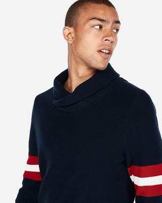 Express Shawl Neck Stripe Sleeve Sweater
