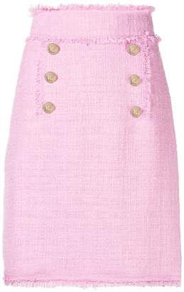 MSGM tweed double-breasted skirt
