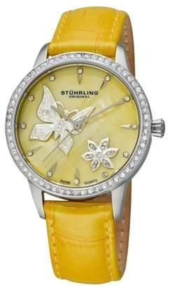 Stuhrling Original Verona Mariposa 518.1115G95 Stainless Steel & Leather 34mm Watch