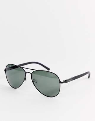 Esprit polarised aviator sunglasses in black
