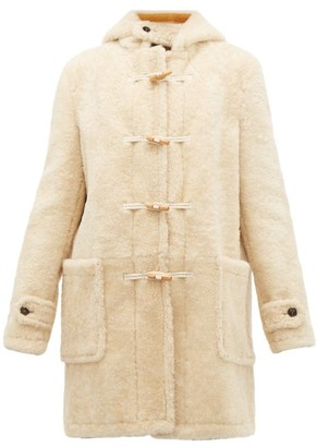 Saint Laurent Toggle Front Hooded Shearling Coat - Womens - Ivory Multi