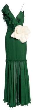 Johanna Ortiz Keep Me Close Asymmetric Ruffle Gown