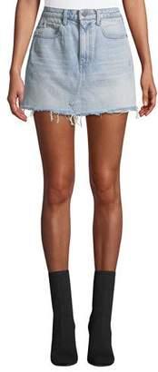 Alexander Wang Bite High-Rise Frayed Denim Mini Skirt