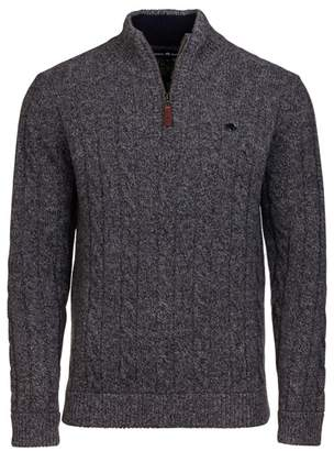 RAGING BULL Raging Bull - Signature Cotton And Cashmere Quarter Zip Jumper