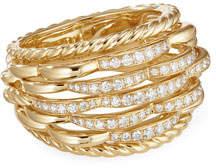 David Yurman Tides 18k Gold Woven Diamond Ring, Size 6