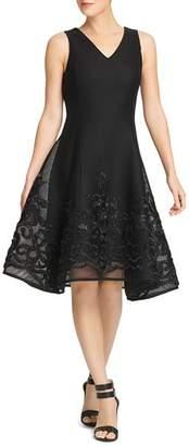 Donna Karan Mesh Fit-and-Flare Dress