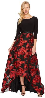 Adrianna Papell Rose Pattern Ball Skirt with Long Sleeve Jersey Top Women's Dress