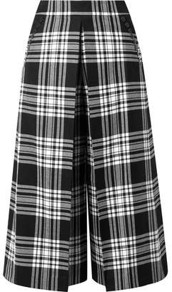 Alexander Wang Cropped Tartan Wool Wide-leg Pants - Black