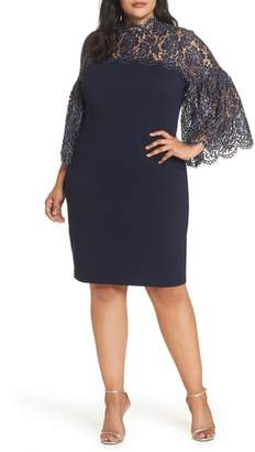 Eliza J Lace Yoke Scuba Crepe Dress