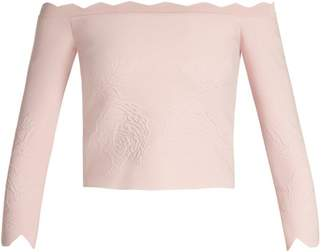 Alexander McQueen Off The Shoulder Matelasse Cropped Top - Womens - Light Pink
