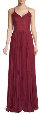 Laundry by Shelli Segal Suede & Chiffon Bustier Gown