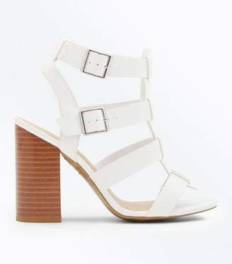 a9bb73b4a0e7 New Look White Wooden Block Heel Gladiator Sandals