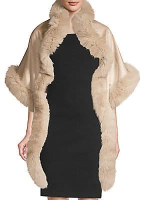 Sofia Cashmere Women's Asymmetric Cashmere& Fox Fur-Trimmed Wrap