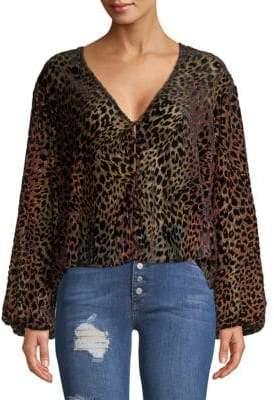 Free People Leopard-Print Puff-Sleeve Blouse