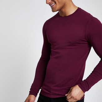 River Island Mens Dark Red muscle fit long sleeve T-shirt