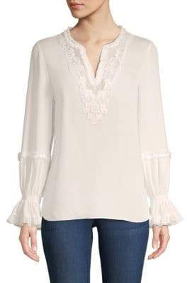 Kobi Halperin Long-Sleeve Silk Peasant Blouse
