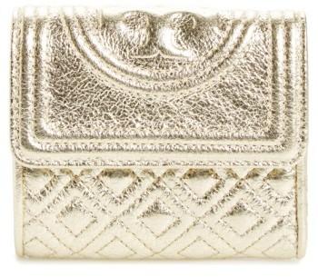 Tory BurchWomen's Tory Burch Mini Fleming Metallic Leather Wallet - Yellow