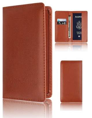 Unbrand Passport Holder Protector Wallet Business Card Soft Passport Cover Brown