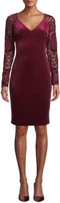 Badgley Mischka Lace Long-Sleeve & Velvet Dress