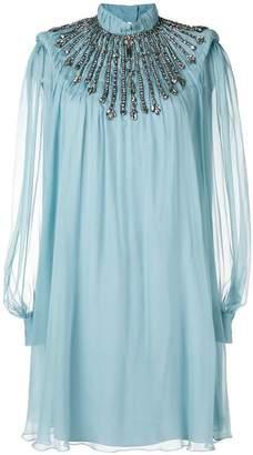 Alberta Ferretti mock neck embellished dress