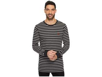 U.S. Polo Assn. Long Sleeve Striped Crew Neck Thermal Pullover Men's Long Sleeve Pullover