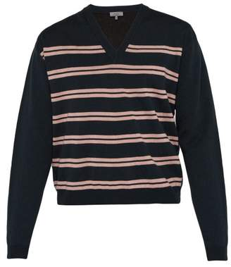 Lanvin Striped V Neck Cotton Blend Sweater - Mens - Dark Blue