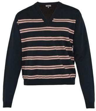 c15ce4a6d4 Lanvin Striped V Neck Cotton Blend Sweater - Mens - Dark Blue