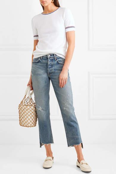 Vanessa Seward Fox Striped Cotton-blend Terry T-shirt - White