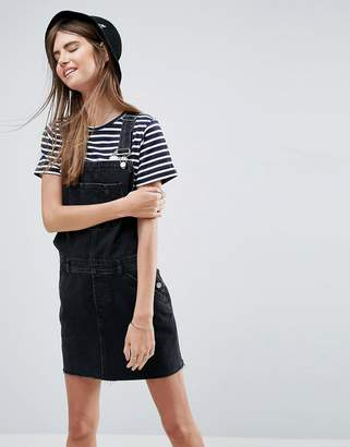 Asos DESIGN denim overall dress in washed black