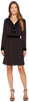 The Kooples Long Sleeve Dress with a V-Neck and Front Button