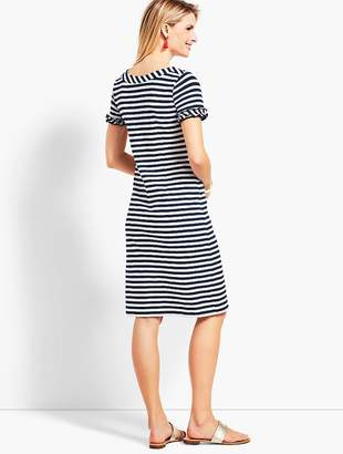 Talbots Ruffle-Sleeve Slub Jersey Stripe Shift Dress