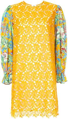 MSGM floral sleeve lace shift dress